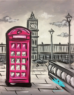 Painting of a red London telephone booth with Big Ben clock tower in the background