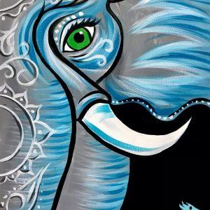 Balinese Elephant painting with Mandala marks around the face