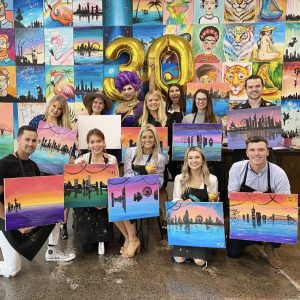 People having fun at our Champainting by Cork and Canvas South Melbourne Studio