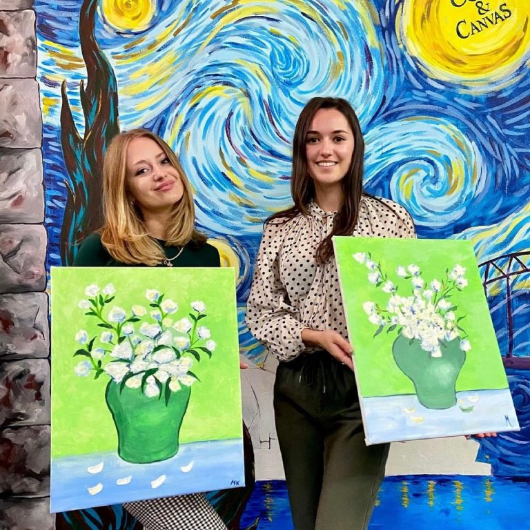 People having fun at our Champainting by Cork and Canvas Crows Nest Studio